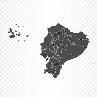透明に分離されたエクアドルの地図