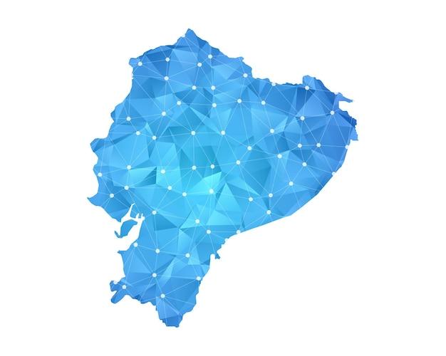 エクアドルの地図の線の点は多角形の抽象的な幾何学的です。