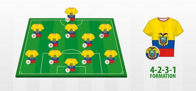 サッカー場でのエクアドル代表サッカーチームの結成。