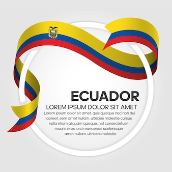 Ecuador ribbon flag, vector illustration on a white background