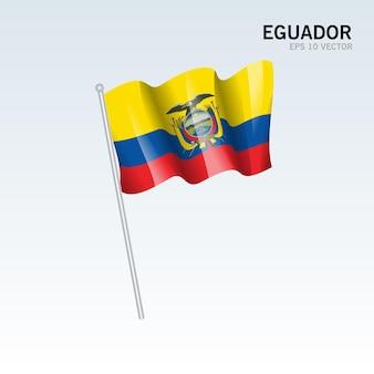 에콰도르 회색에 고립 된 깃발을 흔들며