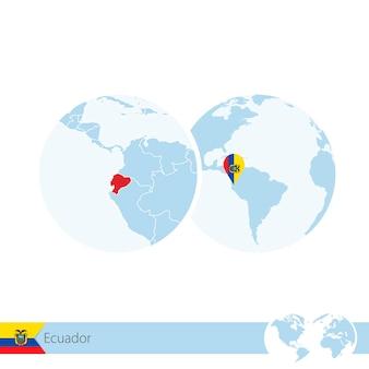 Ecuador on world globe with flag and regional map of ecuador. vector illustration.