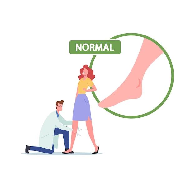 부종, 림프부종, 정맥류 질환 검진 의료 개념. 의사는 여성 환자 캐릭터 다리를 확인