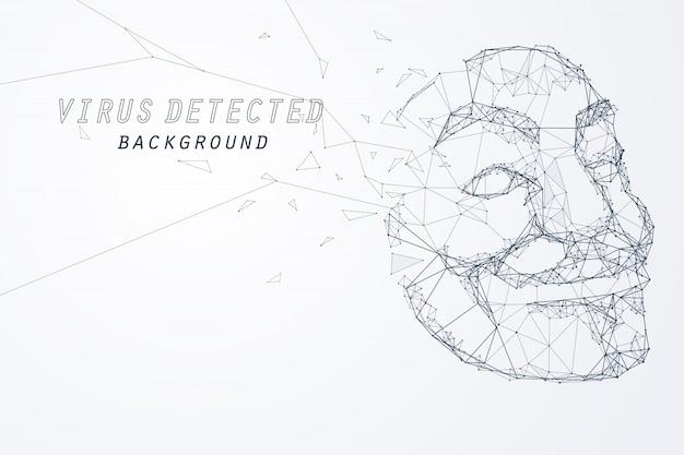 익명의 해커 마스크의 가장자리와 정점