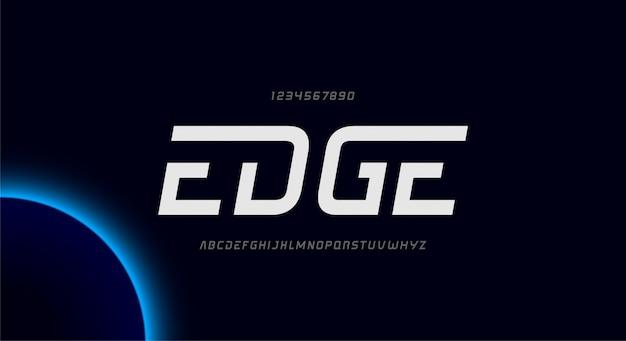 Edge、テクノロジーをテーマにした抽象的な未来的なアルファベットのフォント。モダンなミニマリストのタイポグラフィデザイン