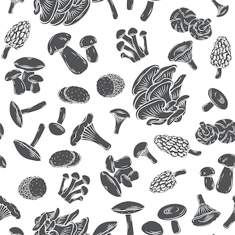 새겨진 스타일에 식용 버섯 원활한 패턴 흑백 글리프