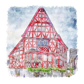 Ediger eller германия акварельный эскиз рисованной