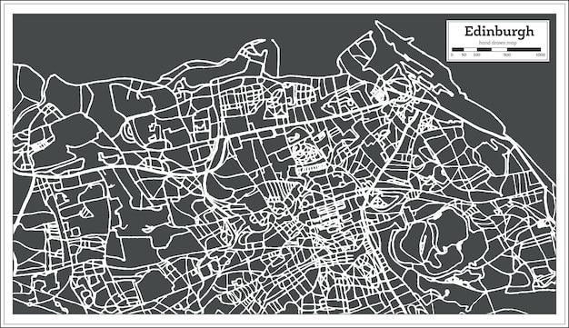 복고 스타일의 에든버러 스코틀랜드 도시 지도. 개요 지도. 벡터 일러스트 레이 션.