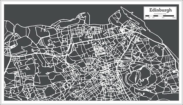Edinburgh scotland city map in retro style. outline map. vector illustration.