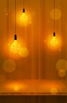 Эдисон комок дизайн: деревянный с гирляндой огни эдисон. иллюстрация. реалистичный свет и дерево