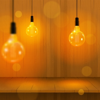 Edison lump design: wooden  with edison lights garland.  illustration, . realistic light and wooden