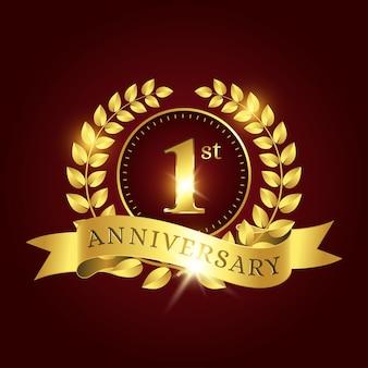 Редактируемый шаблон празднования 1-й годовщины с золотым лавром и лентой на темно-красном фоне