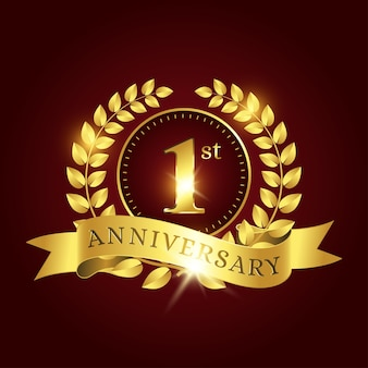 Editable 1st anniversary celebration template with golden laurel and ribbon on dark red background
