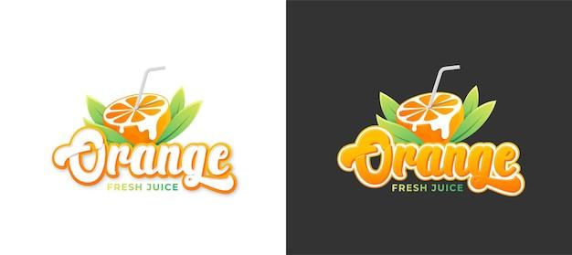 編集可能な2テキストスタイルのオレンジジュースのロゴ