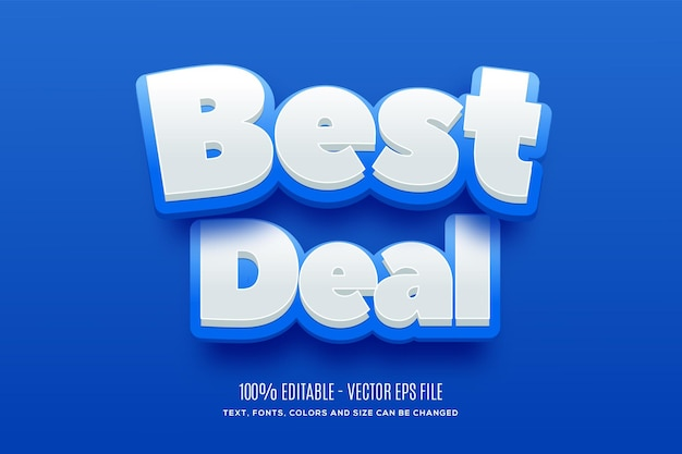 Editable 3d best deal blue  yellow text effect easy to change or edit