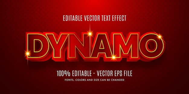 Editable 3d dynamo red  gold text effect easy to change or edit