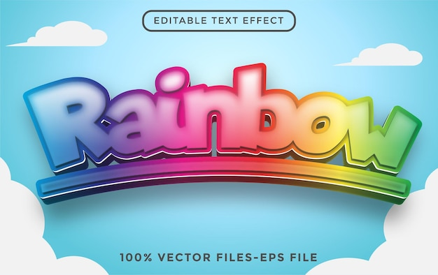 Editable 3d rainbow color text effect easy to change or edit premium vector