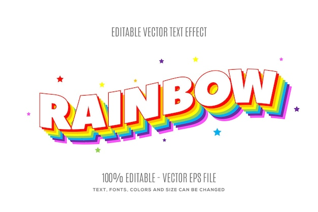 Editable 3d rainbow color text effect easy to change or edit
