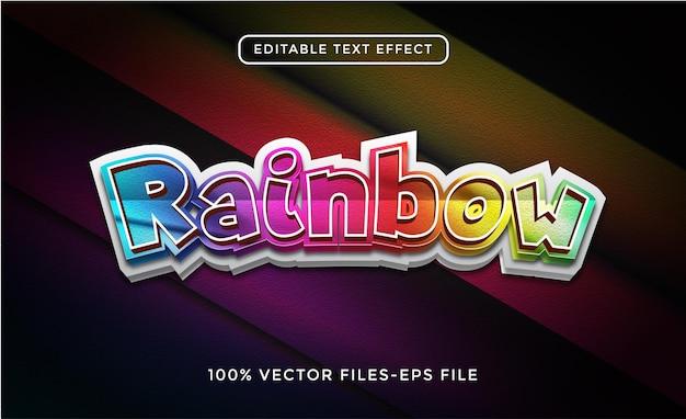 Редактируемый текстовый эффект цвета радуги 3d, который легко изменить или отредактировать premium векторы
