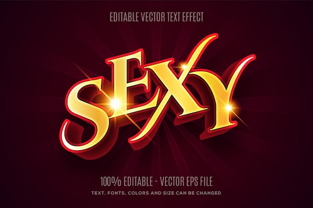 Editable 3d sexy glossy golden and red text effect easy to change or edit