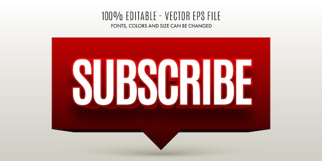 Editable 3d subscribe red  white text effect easy to change or edit