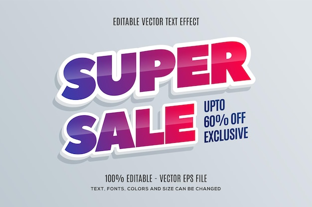 Editable 3d super sale text effect easy to change or edit