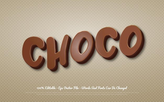 Editable 3d text effect choco style illustrations