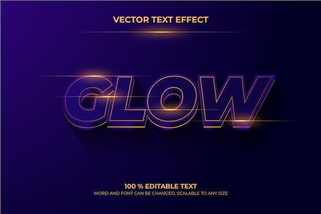 Редактируемый 3d текстовый эффект темно-фиолетовое свечение векто