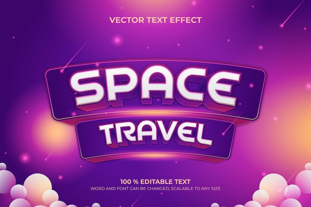 Editable 3d text effect space with purple color and background vector