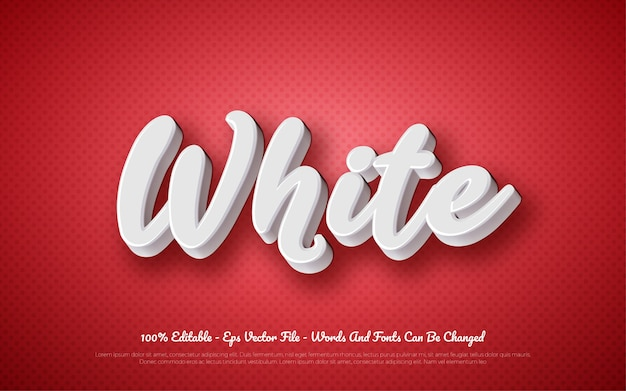 Editable 3d text effect white style illustrations