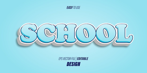 Editable 3d text effects with modern bold fonts and soft light blue gradient colors with fun and children's themes.
