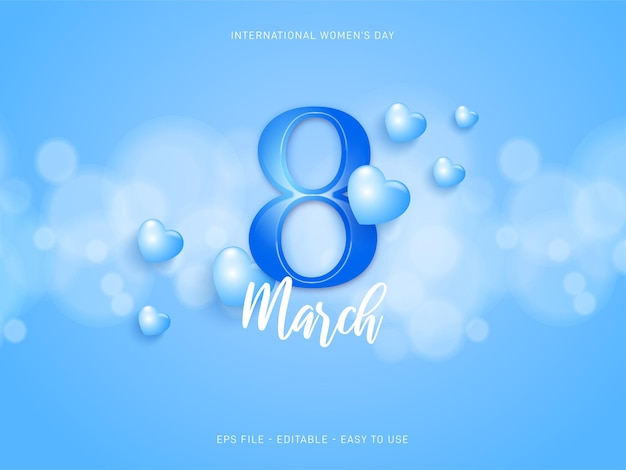 편집 가능한 3 월 8 일 국제 여성의 날 파란색