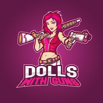 編集可能でカスタマイズ可能なスポーツマスコットのロゴデザイン、銃を備えたeスポーツのロゴ人形