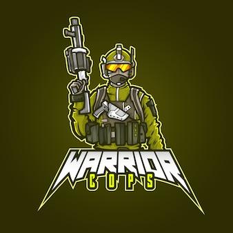 編集可能でカスタマイズ可能なスポーツマスコットのロゴデザイン、eスポーツのロゴの戦士の警官