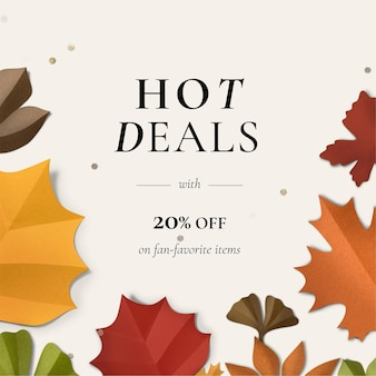 Editable autumn leaf template in paper craft style