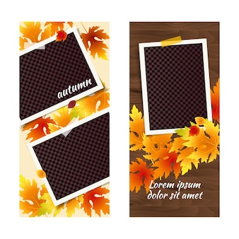 Editable autumn social network stories template set with photo frames and falling leaves