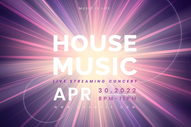 Editable banner template vector with light effect for live streaming concert in the new normal