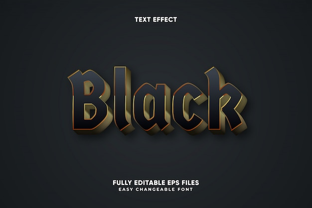 Editable black text effect vector
