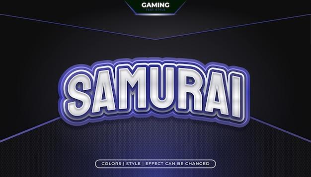 Редактируемый синий игровой стиль текста с изогнутым эффектом для обозначений или логотипов киберспортивных команд