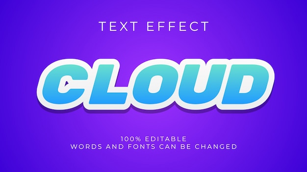 Editable blue and white 3d text effect