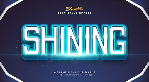Editable bold text effect in blue shining style and neon effect