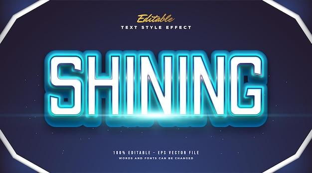Редактируемый жирный текстовый эффект в синем сияющем стиле и неоновый эффект