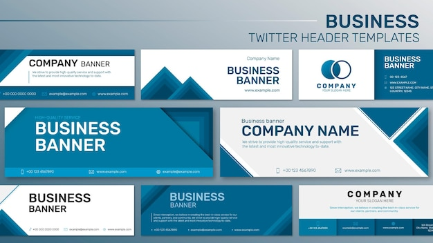 Редактируемый бизнес-баннер шаблон вектор для веб-сайта компании установлен