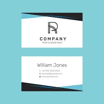 Editable business card template in blue modern design set