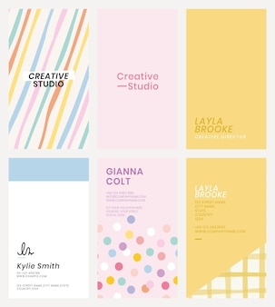 Editable business card template in cute pastel pattern set