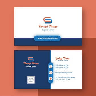 Editable business card template design in white and blue color.