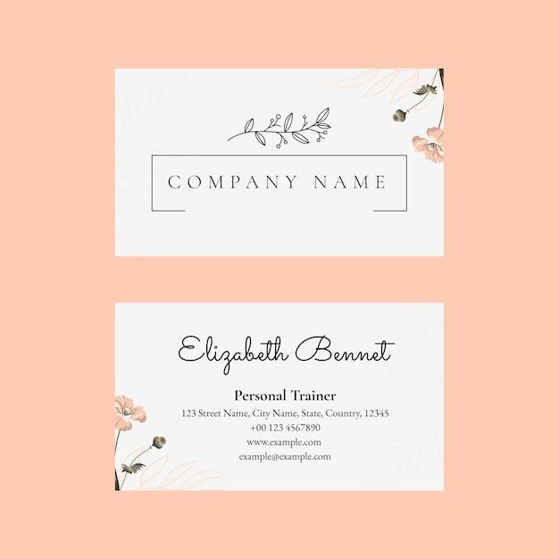Редактируемый шаблон визитной карточки в женском ботаническом дизайне