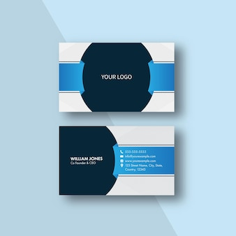 Editable business card template layout with strip pattern on blue background.
