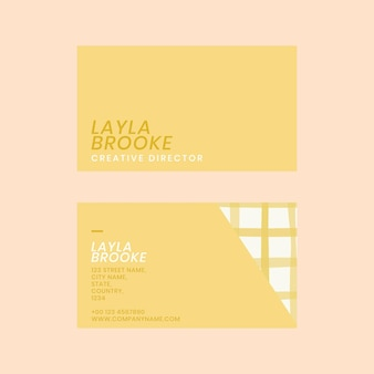 Editable business card template vector in cute pastel yellow pattern