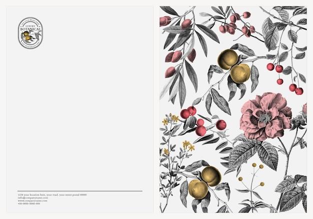 豪華な植物とヴィンテージのスタイルで編集可能な名刺テンプレートベクトル